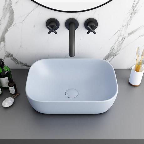 Arezzo 455 x 325mm Matt Blue Curved Rectangular Counter Top Basin