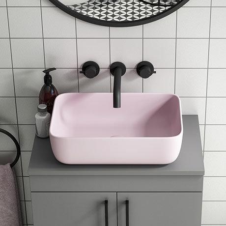 Arezzo 455 x 325mm Matt Pink Curved Rectangular Counter Top Basin