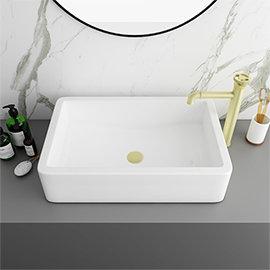 Arezzo 600 x 390mm Gloss White Rectangular Counter Top Basin