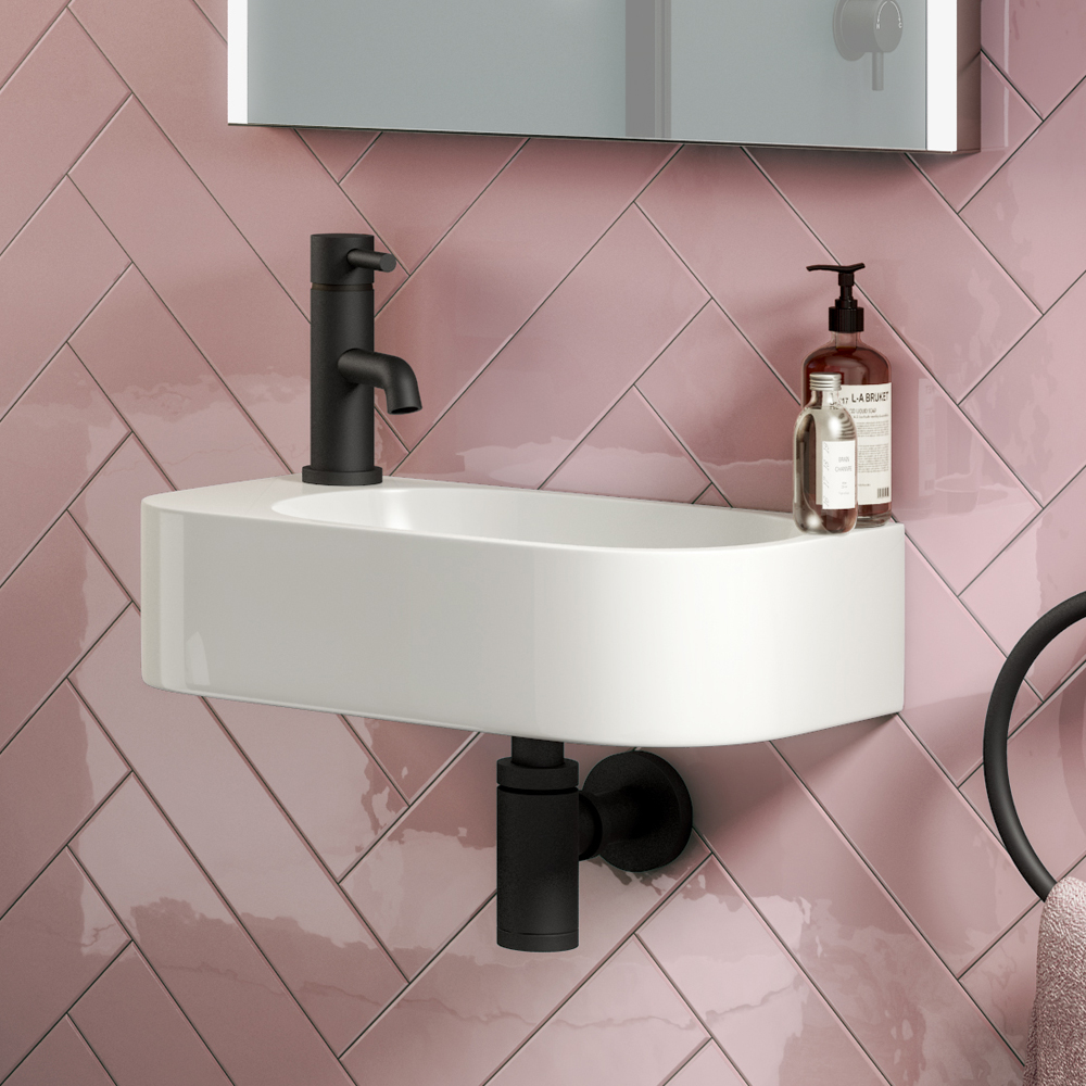 Arezzo 400 x 220mm Curved Wall Hung 1TH Cloakroom Basin