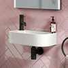 Arezzo 400 x 220mm Curved Wall Hung 1TH Cloakroom Basin profile small image view 1