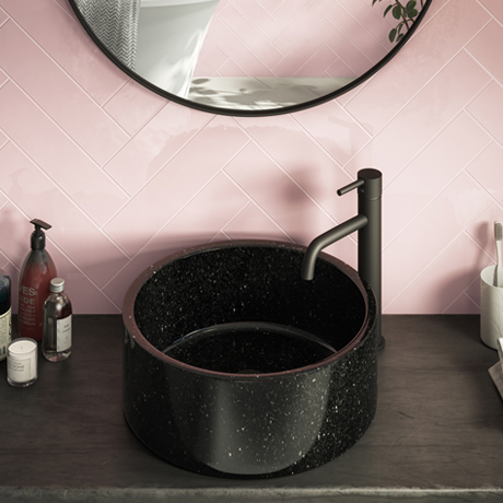 Arezzo Round 405mm Black Marble Effect Ceramic Counter Top Basin
