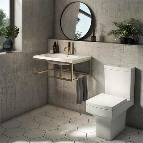 Arezzo 700 Wall Hung Basin with Brushed Brass Frame + Square Toilet
