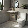 Arezzo 700 Wall Hung Basin with Brushed Brass Frame + Square Toilet profile small image view 1