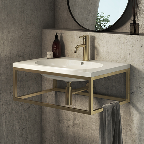 Arezzo 700 Wall Hung Basin with Brushed Brass Towel Rail Frame