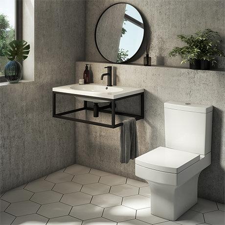 Arezzo 700 Wall Hung Basin with Matt Black Frame + Square Toilet
