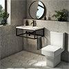 Arezzo 700 Wall Hung Basin with Matt Black Frame + Square Toilet profile small image view 1