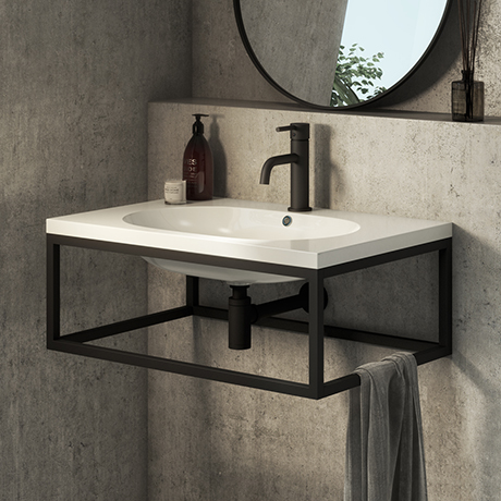 Arezzo 700 Wall Hung Basin with Matt Black Towel Rail Frame