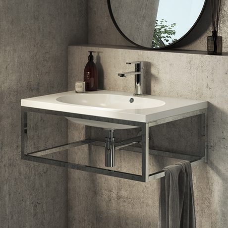 Arezzo 700 Wall Hung Basin with Chrome Towel Rail Frame