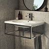 Arezzo 700 Wall Hung Basin with Chrome Towel Rail Frame profile small image view 1