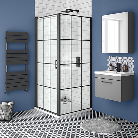 Arezzo 700 x 700 Matt Black Grid Frameless Pivot Door Shower Enclosure + Tray