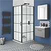 Arezzo 700 x 700 Matt Black Grid Frameless Pivot Door Shower Enclosure + Tray profile small image view 1