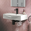 Arezzo 600 x 400 Modern Wall Mounted / Counter Top 1TH Basin profile small image view 1