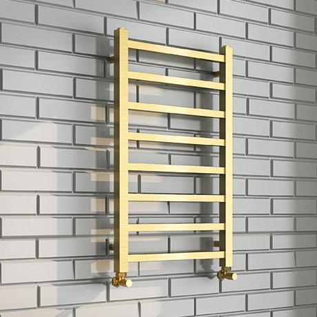 Arezzo Cube Brushed Brass 800 x 500 Heated Towel Rails
