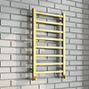 Arezzo Cube Brushed Brass 800 x 500 Heated Towel Rail profile small image view 1