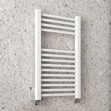 Arezzo Cube Matt White 800 x 500 Heated Towel Rail