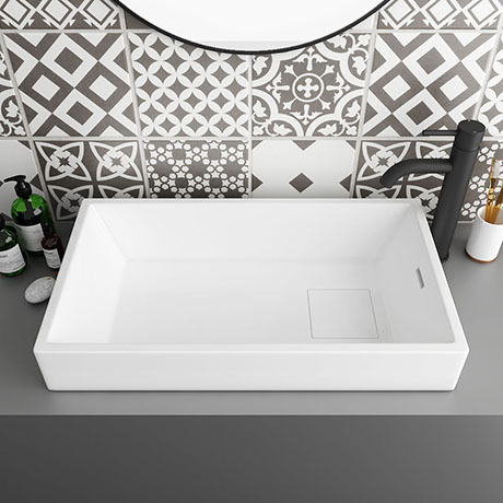 Arezzo 710 x 405mm Modern Large Rectangular Counter Top Basin with Hidden Waste Cover