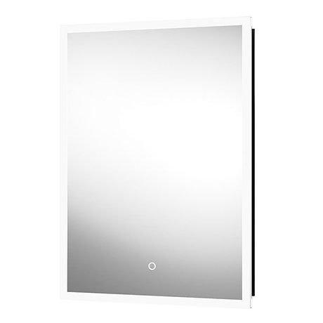 Arezzo Matt Black 500 x 700mm Recessed LED Illuminated Bathroom Mirror Cabinet with Shaver Socket &