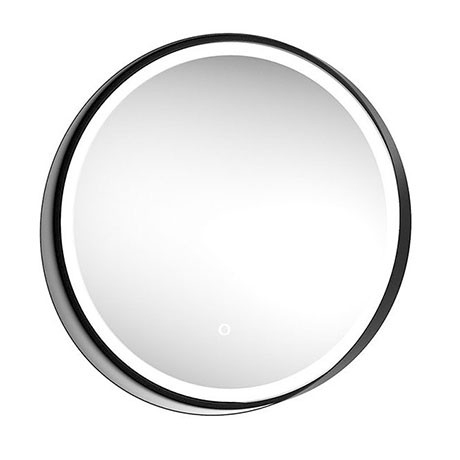 Arezzo Matt Black 600mm Round Colour Changing LED Illuminated Bathroom Mirror with Anti-Fog