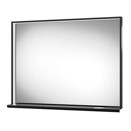 Arezzo Matt Black 800 x 600mm LED Illuminated Bathroom Mirror with QI Charger & Anti-Fog