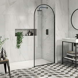 Arezzo 800 x 1950 Arched Matt Black Framed 8mm Wetroom Screen