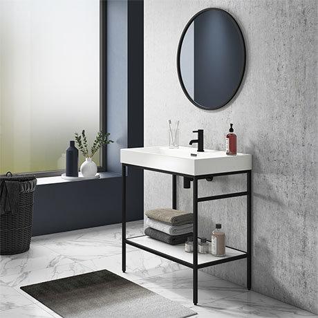 Arezzo 800 Matt Black Framed Washstand with Gloss White Open Shelf and Basin