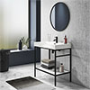 Arezzo 800 Matt Black Framed Washstand with Gloss White Open Shelf and Basin profile small image view 1