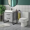 Arezzo 800 Concrete-Effect Matt Black Framed Vanity Unit + Square Toilet profile small image view 1