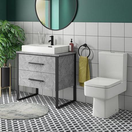 Arezzo 800 Concrete-Effect Matt Black Framed Vanity Unit + Square Toilet