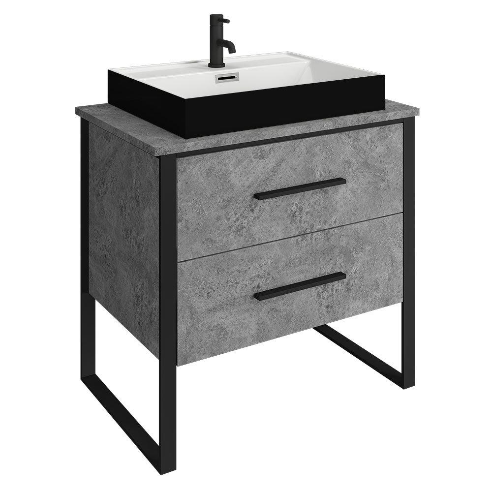 Arezzo Countertop Basin Unit - Concrete-Effect with Black Frame - 800mm inc. Gloss Black Basin