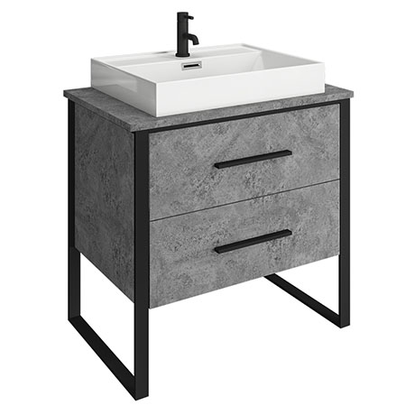 Arezzo 800 Concrete-Effect Matt Black Framed 2 Drawer Vanity Unit with Countertop Basin