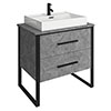 Arezzo 800 Concrete-Effect Matt Black Framed 2 Drawer Vanity Unit with Countertop Basin profile small image view 1
