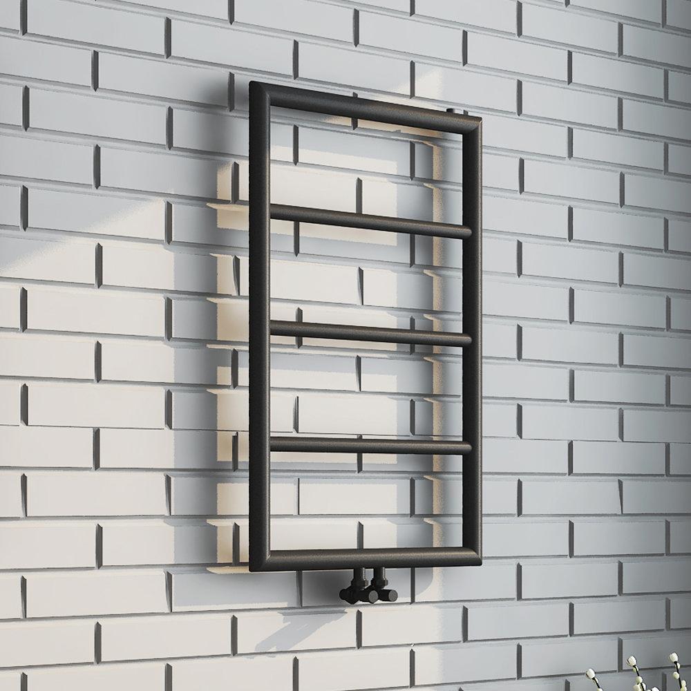 Arezzo Matt Black 800 x 500 Ladder Heated Towel Rail