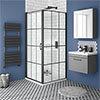 Arezzo 800 x 800 Matt Black Grid Frameless Pivot Door Shower Enclosure + Tray profile small image view 1