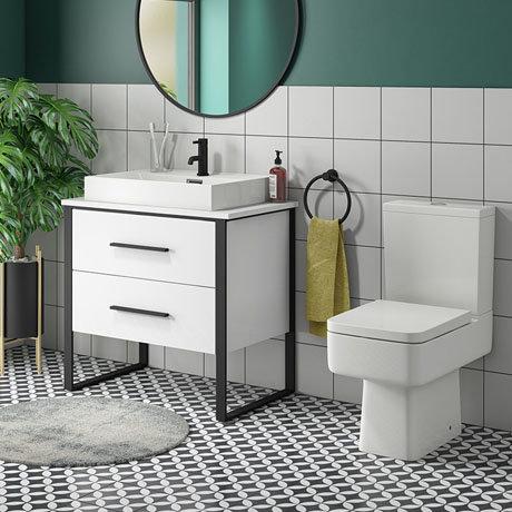 Arezzo 800 Gloss White Matt Black Framed Vanity Unit + Square Toilet