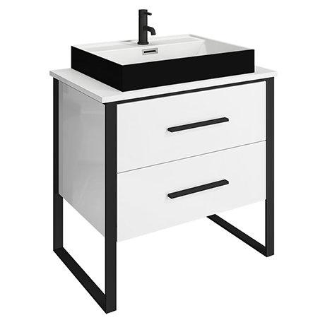 Arezzo Countertop Basin Unit - Gloss White with Black Frame - 800mm inc. Gloss Black Basin