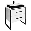 Arezzo Countertop Basin Unit - Gloss White with Black Frame - 800mm inc. Gloss Black Basin profile small image view 1