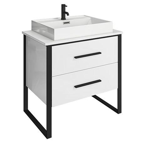 Arezzo 800 Gloss White Matt Black Framed 2 Drawer Vanity Unit with Countertop Basin