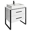 Arezzo 800 Gloss White Matt Black Framed 2 Drawer Vanity Unit with Countertop Basin profile small image view 1