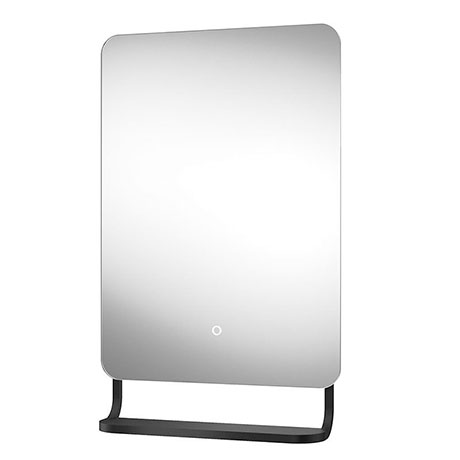 Arezzo Matt Black 800 x 500mm Backlit LED Bathroom Mirror with Hanging Shelf & Anti-Fog