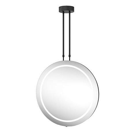 Arezzo Matt Black 600mm Hanging LED Illuminated Bathroom Mirror with Infrared Sensor & Anti-Fog