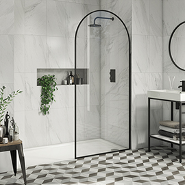 Arezzo 900 x 1950 Arched Matt Black Framed 8mm Wetroom Screen