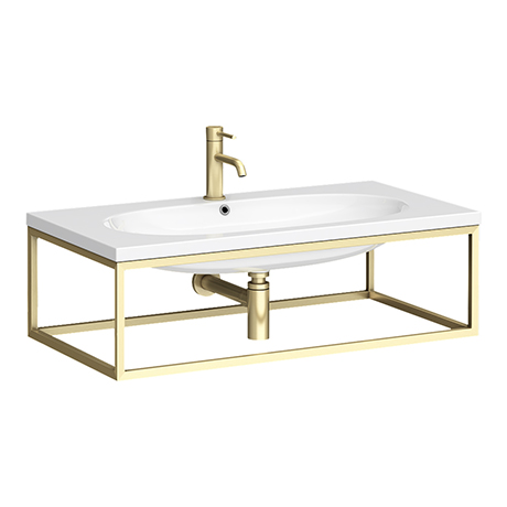 Arezzo 900 Wall Hung Basin with Brushed Brass Towel Rail Frame