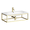 Arezzo 900 Wall Hung Basin with Brushed Brass Towel Rail Frame profile small image view 1