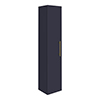 Arezzo Wall Hung Tall Storage Cabinet - Matt Blue - with Industrial Style Brushed Brass Handle profile small image view 1