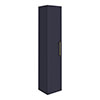 Arezzo Matt Blue Wall Hung Tall Storage Cabinet with Brushed Brass Handle profile small image view 1