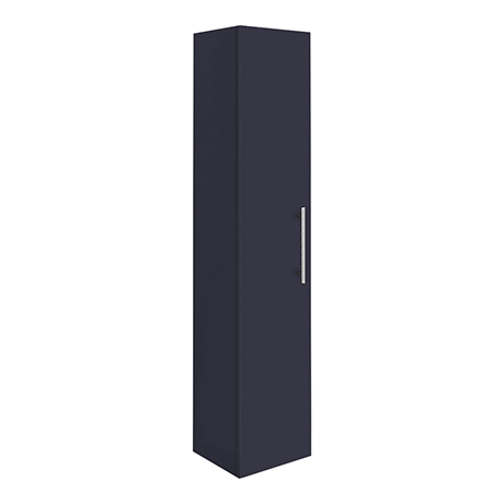 Arezzo Wall Hung Tall Storage Cabinet - Matt Blue - with Industrial Style Chrome Handle
