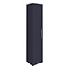 Arezzo Matt Blue Wall Hung Tall Storage Cabinet with Rose Gold Handle profile small image view 1