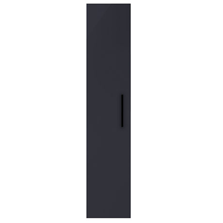Arezzo Matt Blue Wall Hung Tall Storage Cabinet with Matt Black Handle