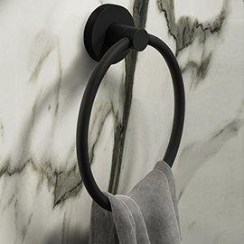 Arezzo Matt Black Round Towel Ring